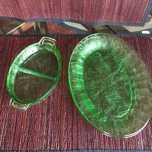 Depression green glass 2 plates and small dish